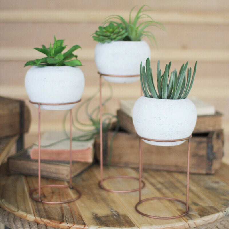 White Washed Clay Pots with Stands