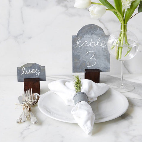 Galvanized Table Markers with Wooden Stands