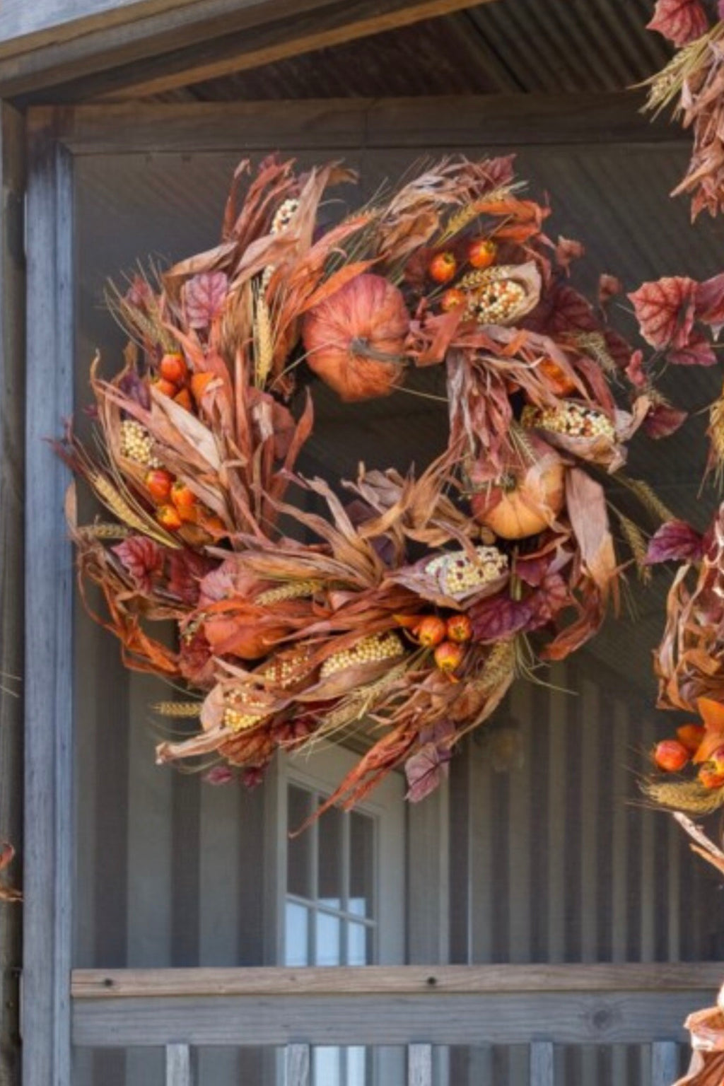 Husk Pumpkin and Corn Wreath