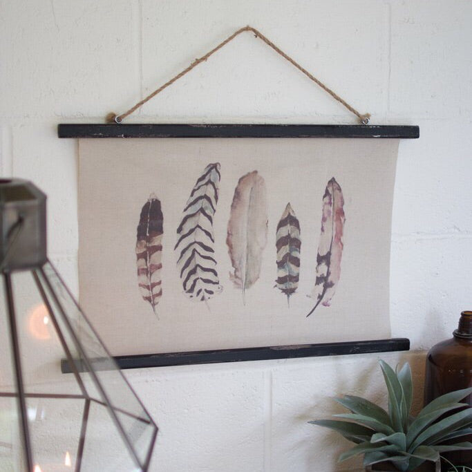 Five Feathers Canvas Banner
