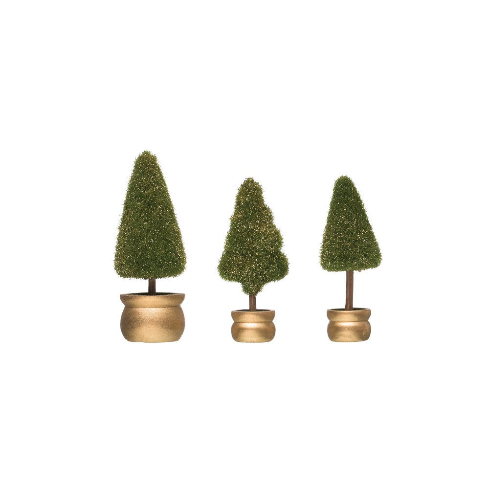 Mini Faux Fir Topiaries