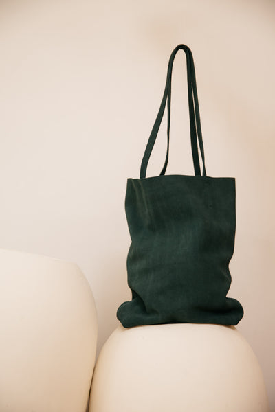Evening Green Suede Tote