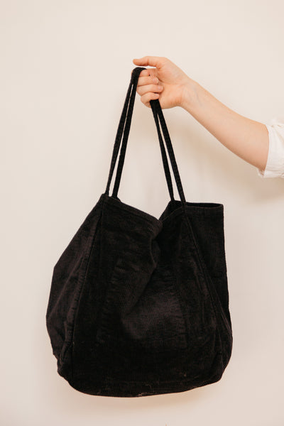 Vintage Cord Black Tote (2 Left)