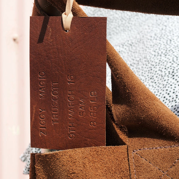 leather swing tag, leather tag, personalised tag, monogrammed leather