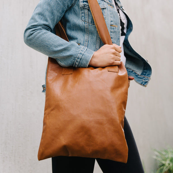 Tan Leather Tote - Honey & Heid Tote Honey & Heid Honey & Heid