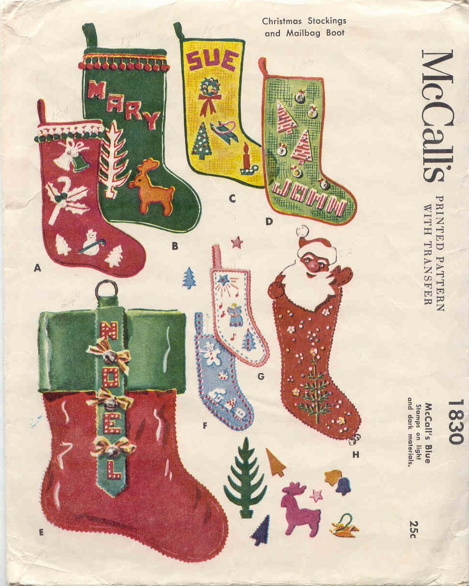 Vintage christmas sewing patterns plus a chinese christmas dinner mccalls 1830 christmas stockings jeuxipadfo Image collections