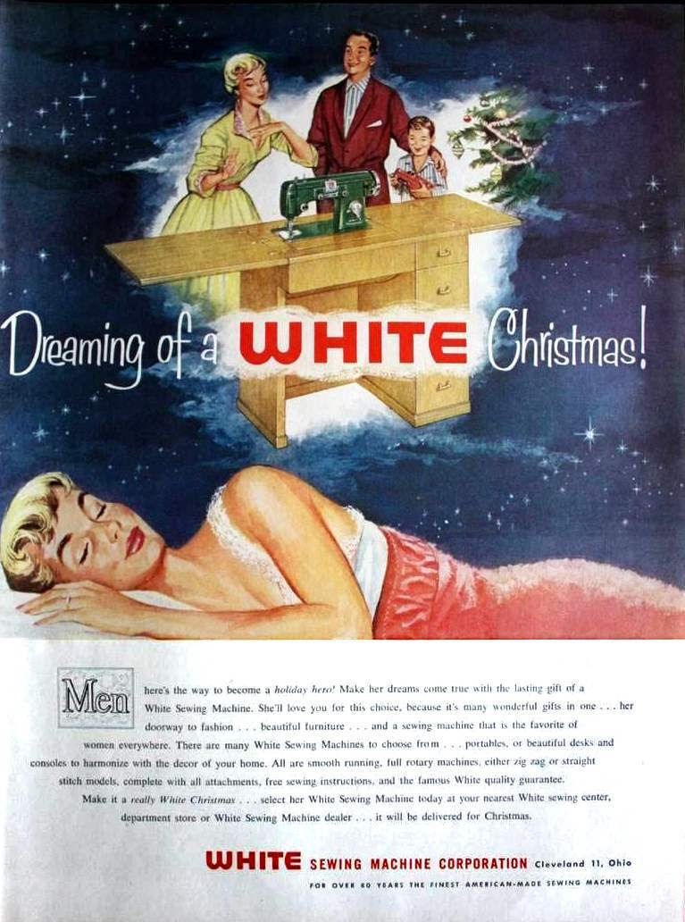 Vintage White Sewing Machine Christmas Ad