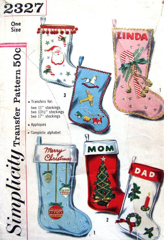 1957 Simplicity 2327 Transfer Pattern For Christmas Stockings