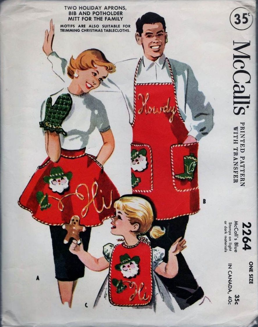 1958 McCall's 2264 Two Holiday Aprons