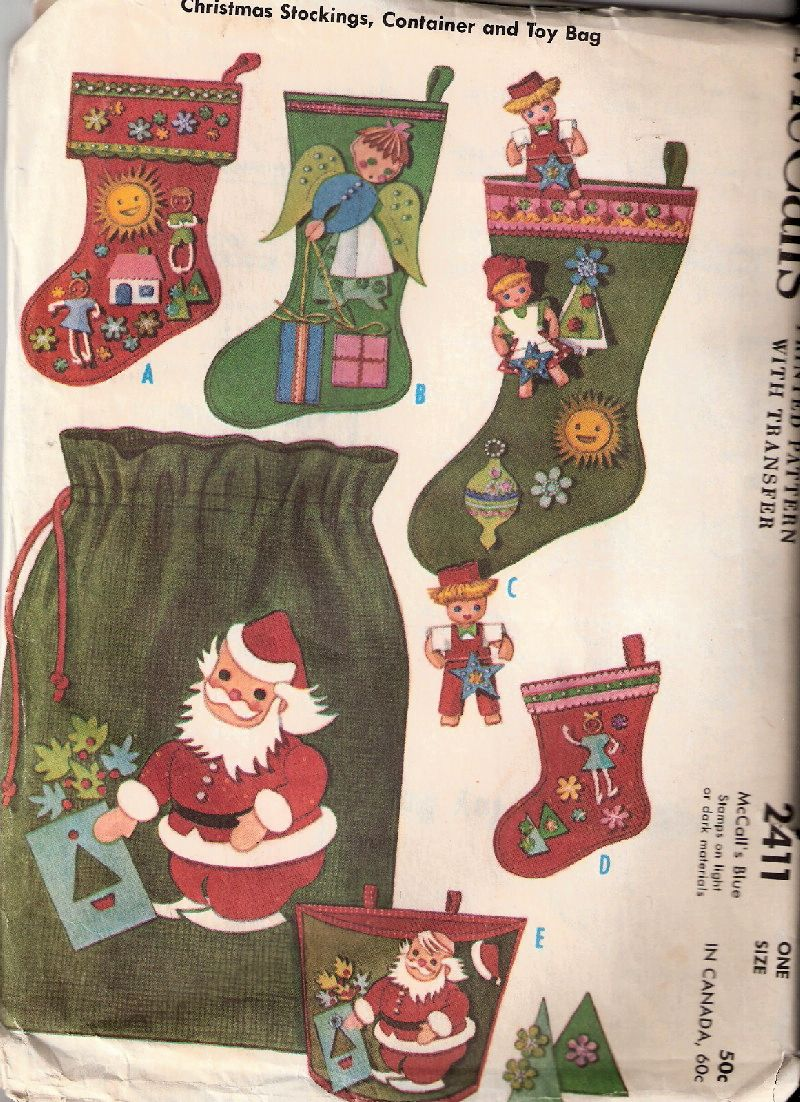 1960 McCall's 2411 Christmas Stockings, Container, and Toy Bag