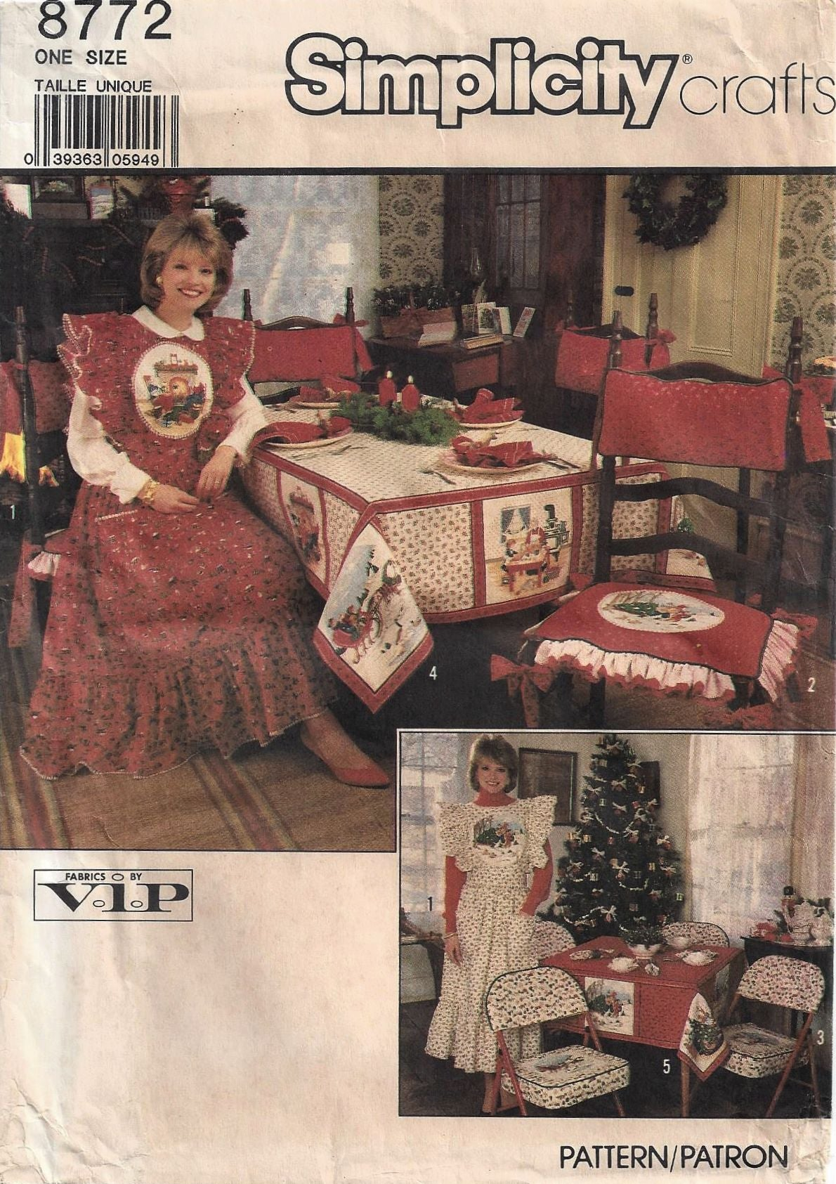 1988 Simplicity 8772 Christmas Apron, Chair Cushion & Cover, Tablecloths, Napkins