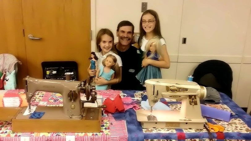 Bob Reidel with his Daughters - Sewing Machine Enthusiasts