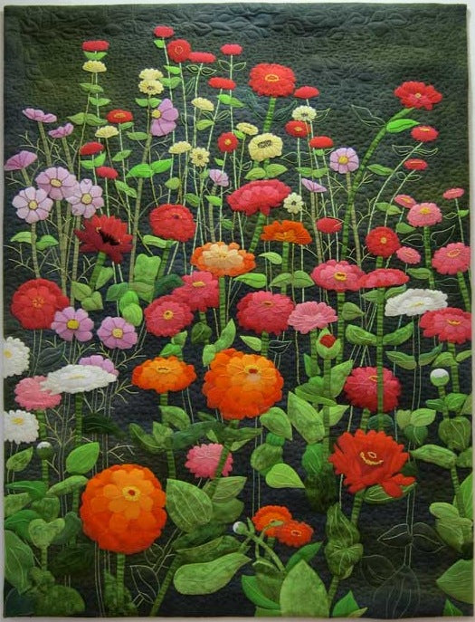 "Z"" is for Zinnias, C is for Cosmos - quilt by Kathie Kerler"