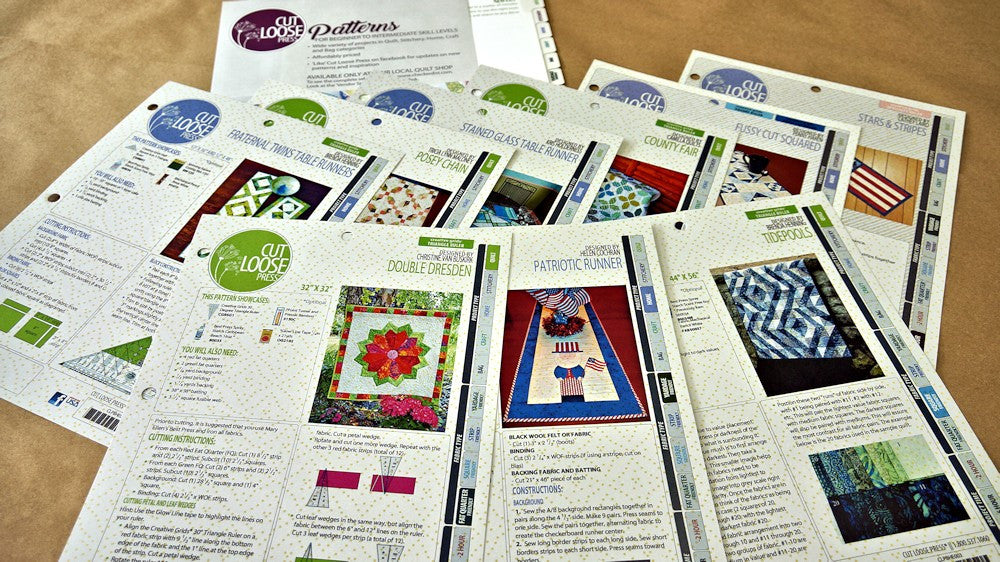 Cut Loose Press Patterns in Quilter's Stash Box