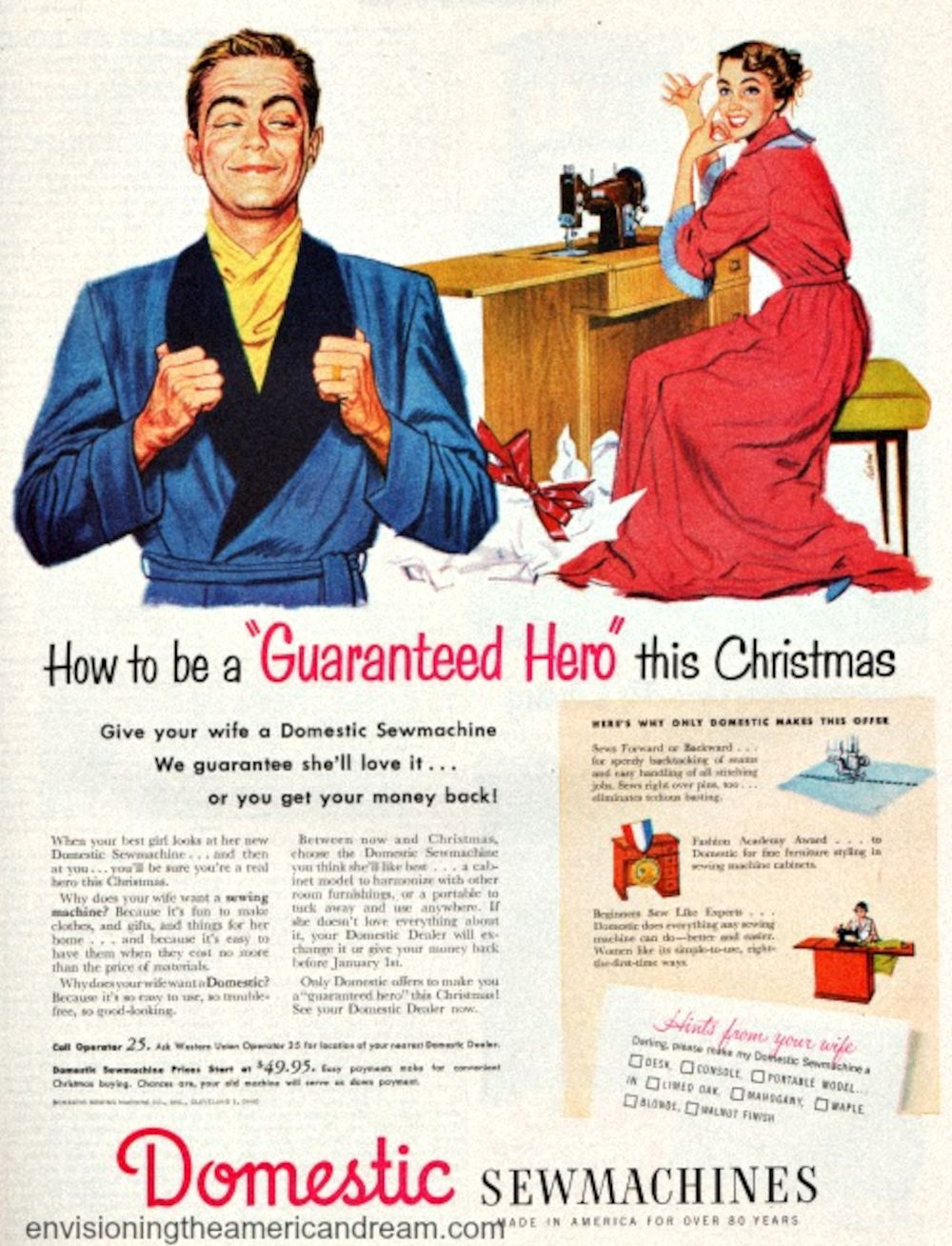 Vintage Domestic Sewing Machine Christmas Ad
