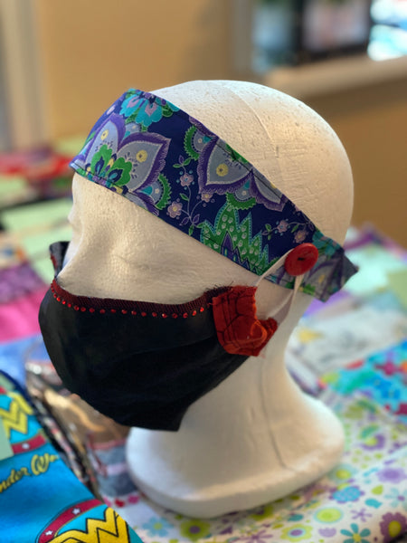 Handmade Button Headbands For Face Covers