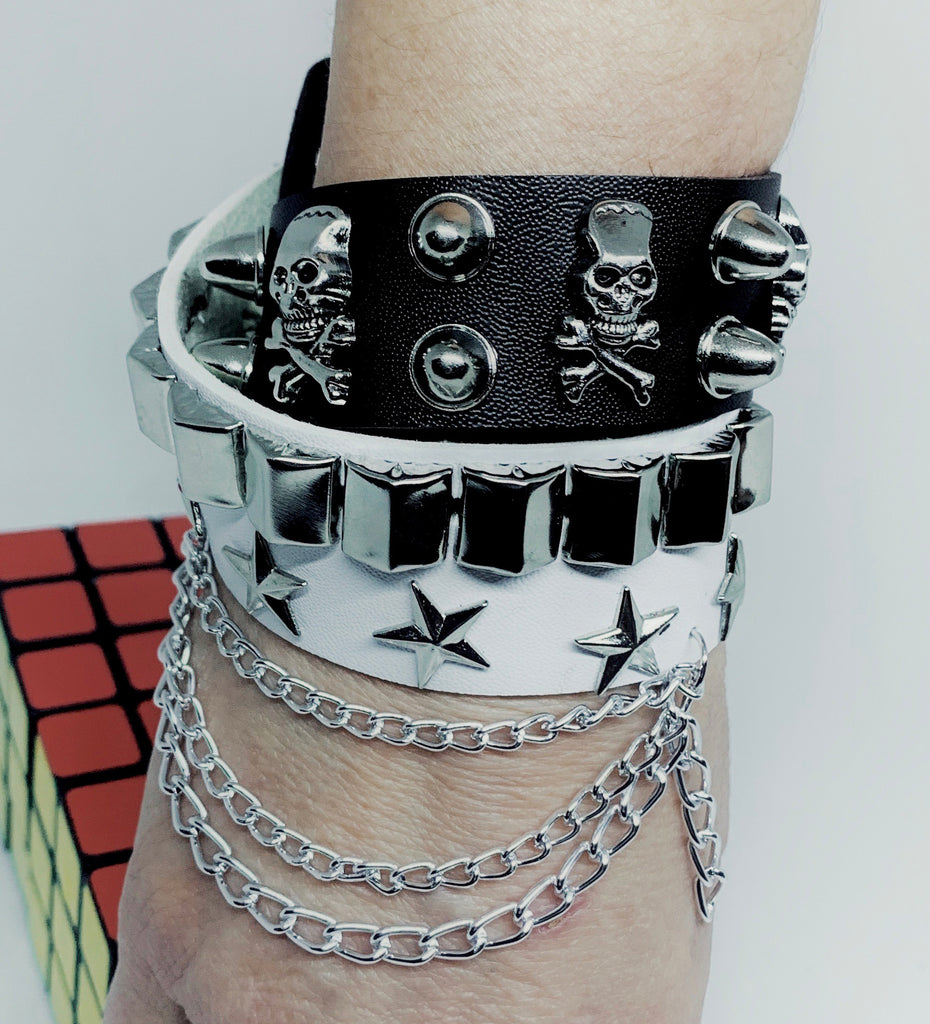 80s Fashion Fun Leather Cuff Skull and Chains