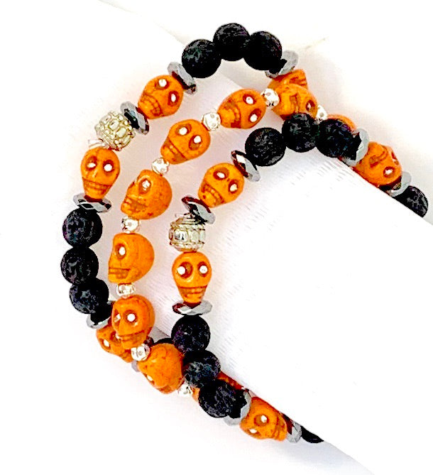 Beaded Scentable Lava Rock Bracelet - Set of 3 - Ginger