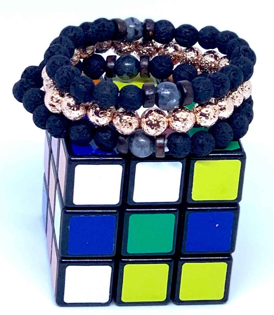 Essential Oil Lava Rock Bracelets Blue