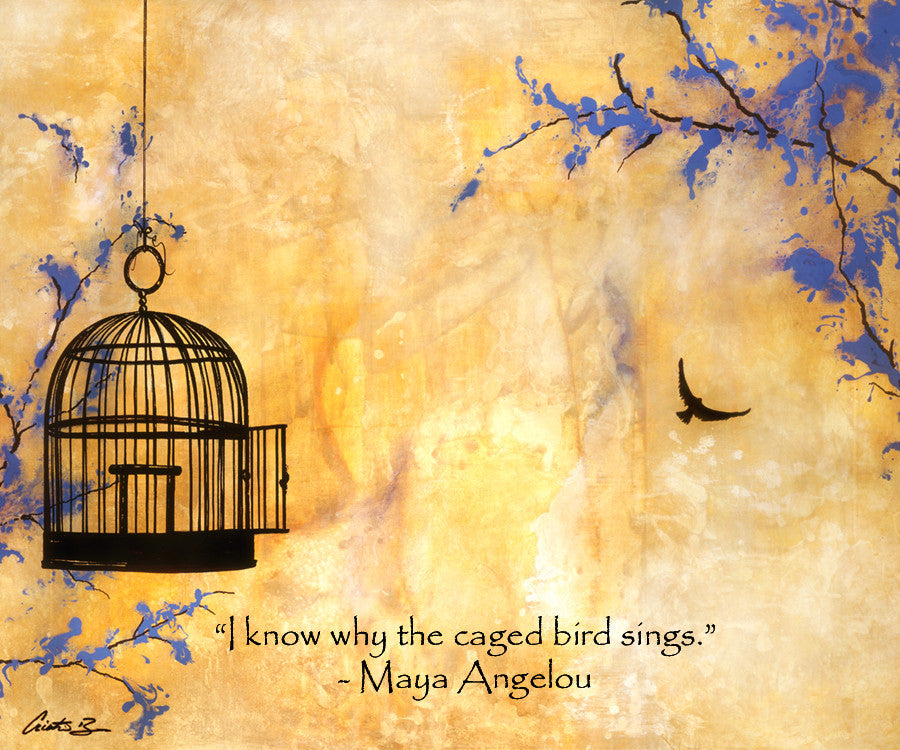 """Free Bird"" with Maya Angelou quote - Fine Art Print"