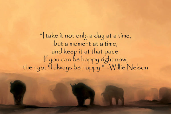 """Buffalo at Dusk with Willie Nelson Quote""  Fine Art Print"