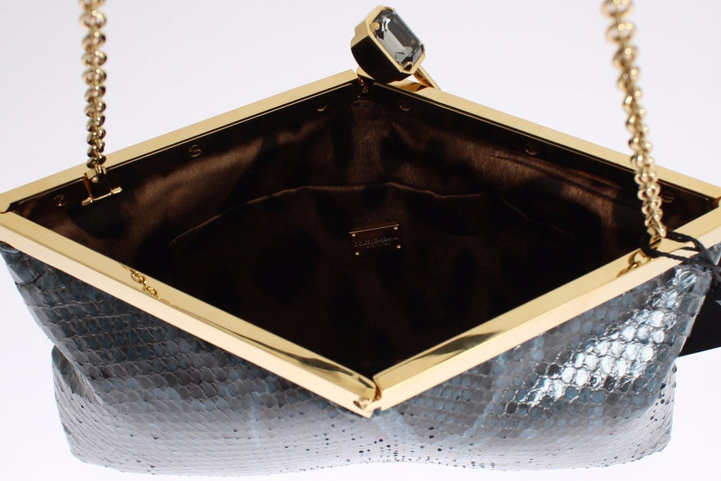 Dolce & Gabbana Blue Python Snakeskin Shoulder Crystal Clutch