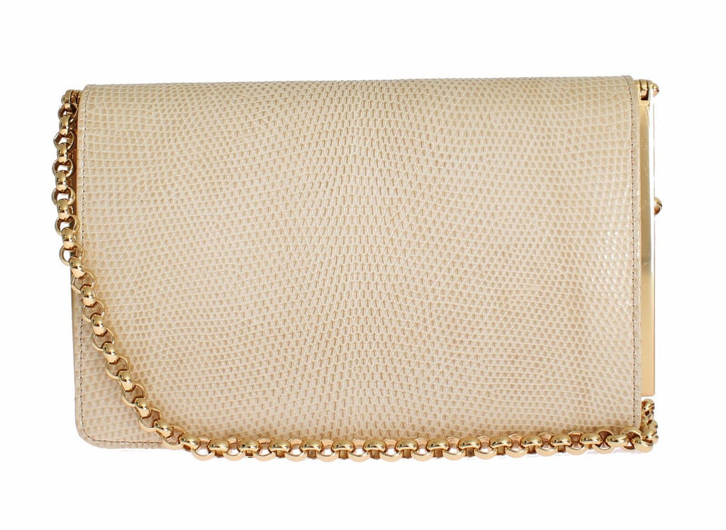 Dolce & Gabbana Beige Varano Lizard Skin Shoulder Evening Party Clutch bag