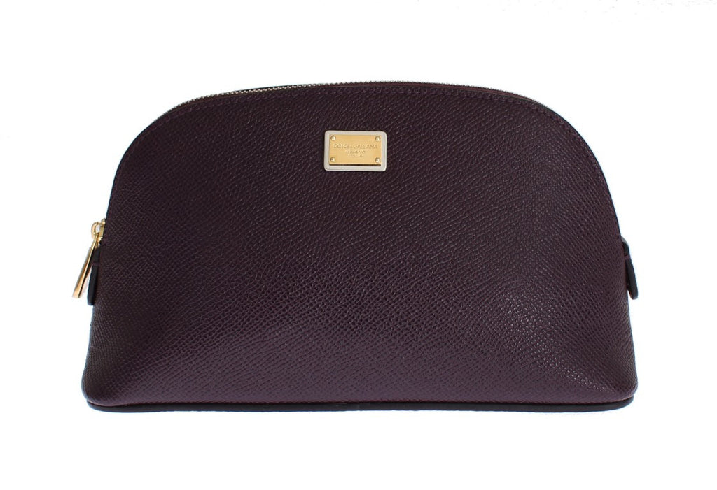 Dolce & Gabbana Purple Dauphine Leather Clutch