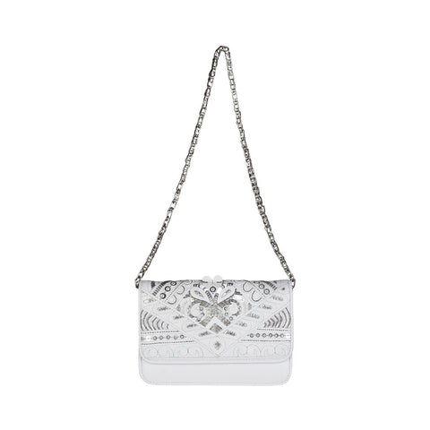 Cavalli Class White Studded Crossbody Bag