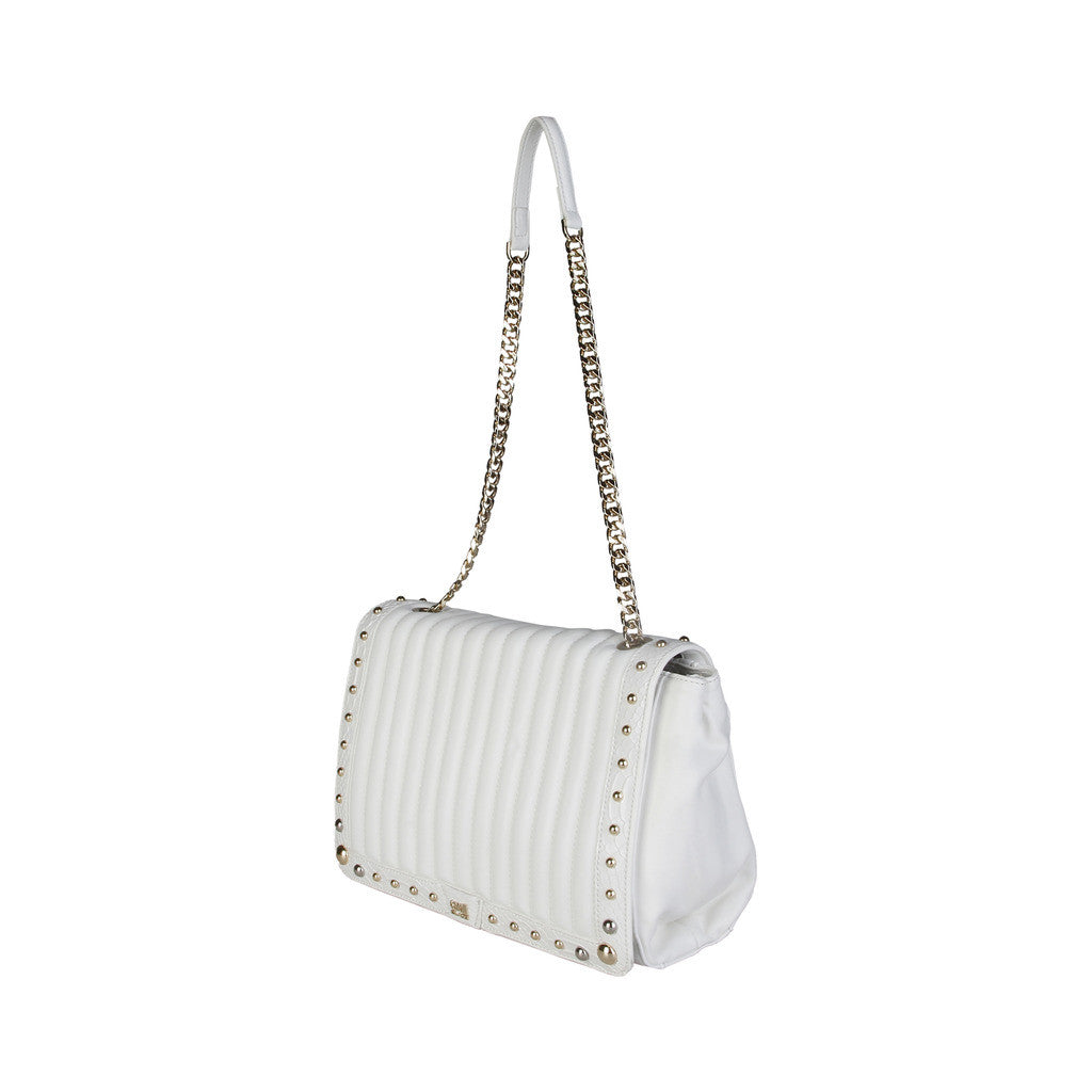 Cavalli Class White Studded Shoulder Bag