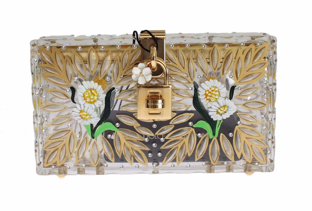 Purse box Plexi Flower handpainted de Sara Clutch bag
