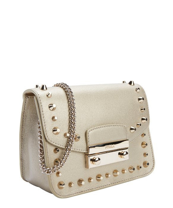 Furla Julia Mini studded Crossbody handbag, gold