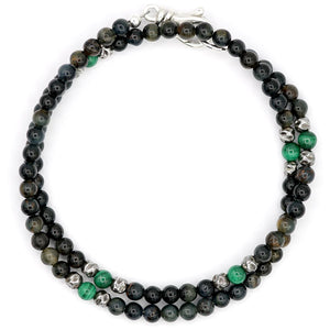 Aerosmith Blue Tiger Eye And Malachite Double Wrap Bracelet - Rocktonica Mens Jewellery London