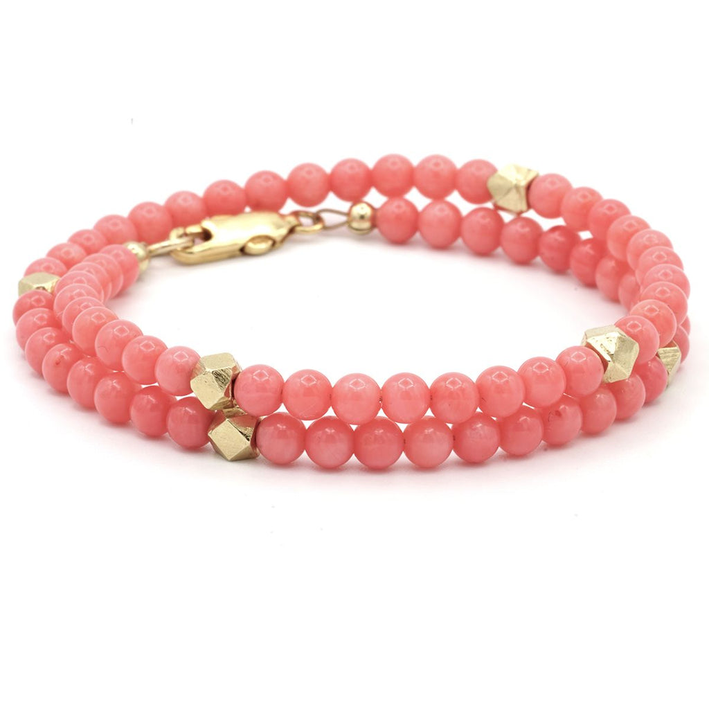 Axl Rose Pink Coral And 19k Gold Triple Wrap Bracelet - Rocktonica Jewellery London