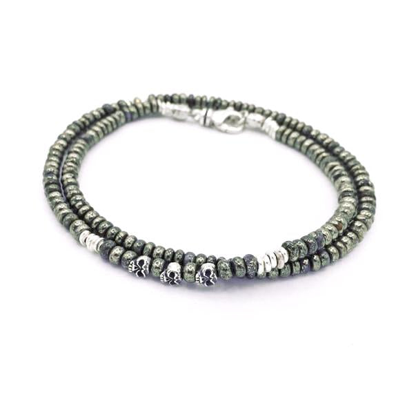 3 Doors Down Pyrite And Skull Double Wrap Bracelet Mens - Rocktonica Mens Jewellery London