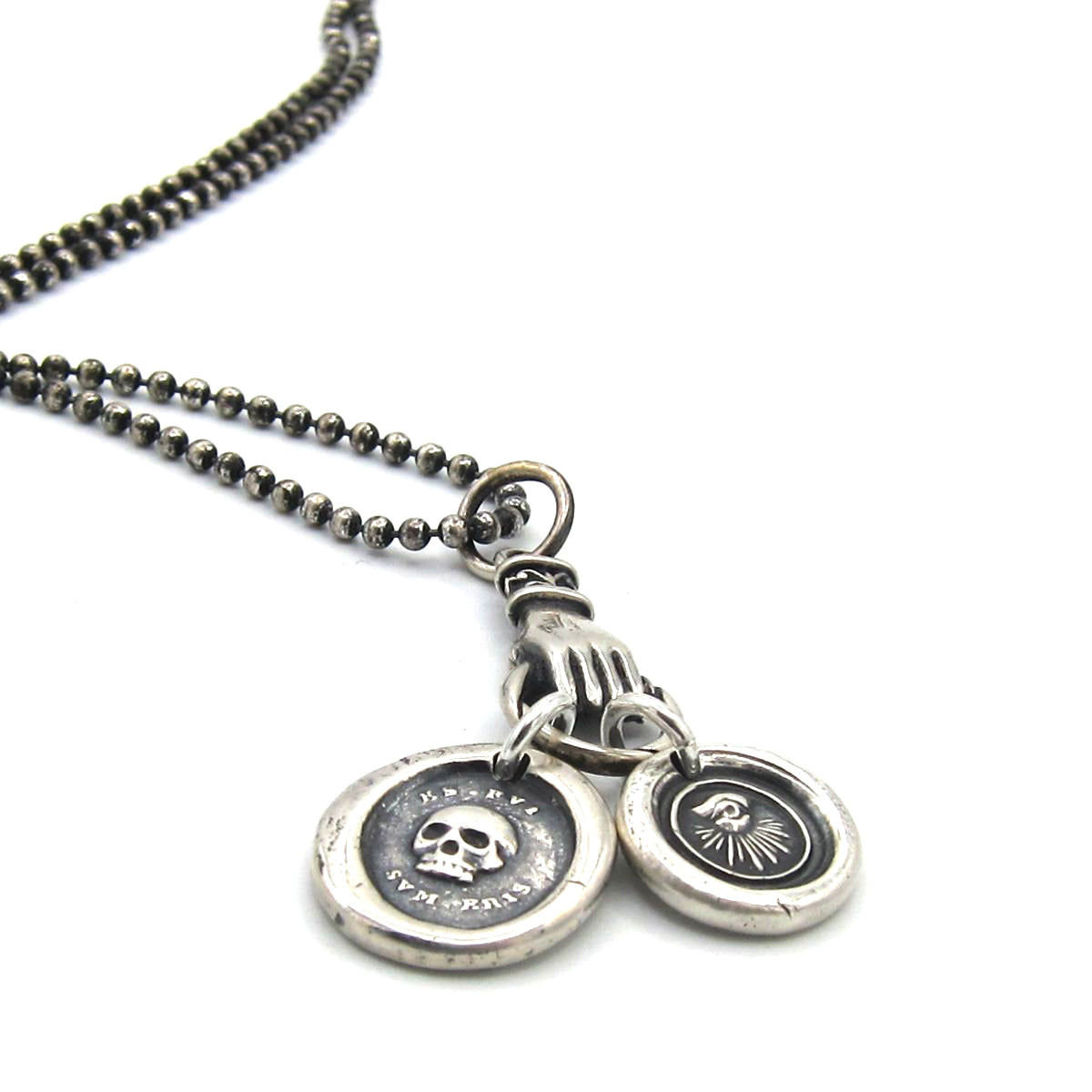 Muse rocktonica jewellery london mens luxury ball chain necklace with silver hand clutching a skull and all mozeypictures Images