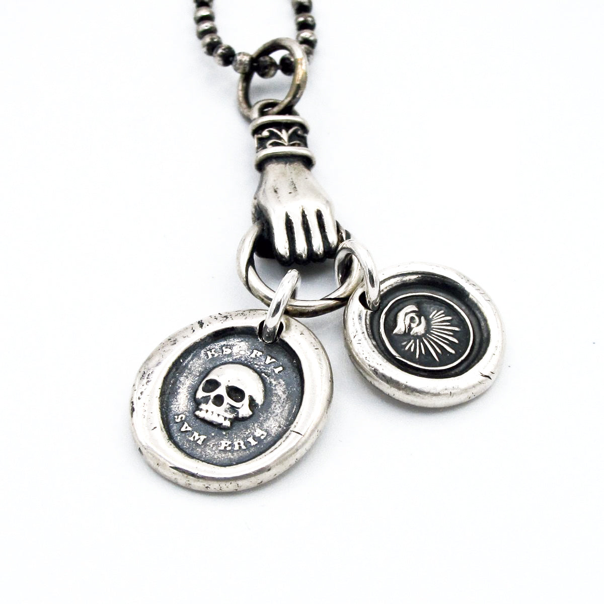 Muse rocktonica jewellery london mens luxury ball chain necklace with silver hand clutching a skull and all mozeypictures Gallery