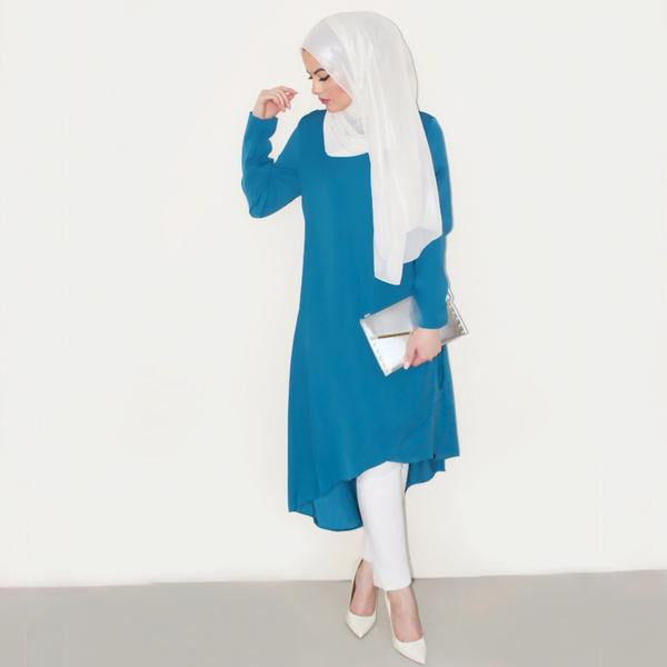 B. ZARINA STYLE GUIDE: OMAYA IN THE TURQUOISE BREEZE MIDI DRESS