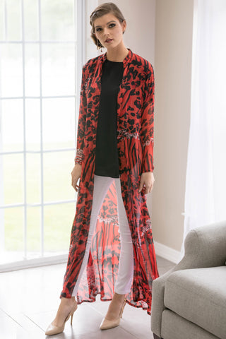Black Border Cheetah Print Maxi Cardigan