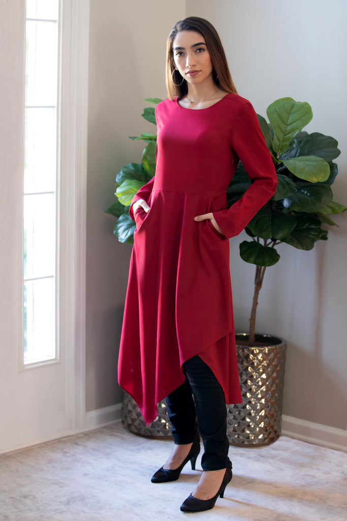 Maroon Draped Midi Dress