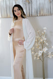 WHITE PEARL EDGE MAXI CARDIGAN