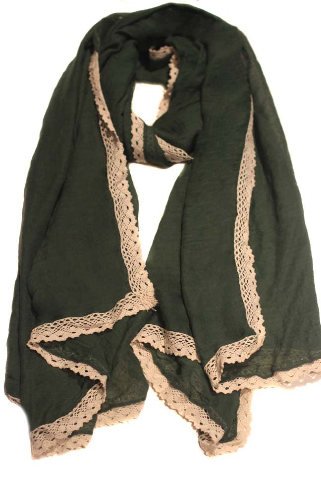 Ivory Brocade Hijab-Green