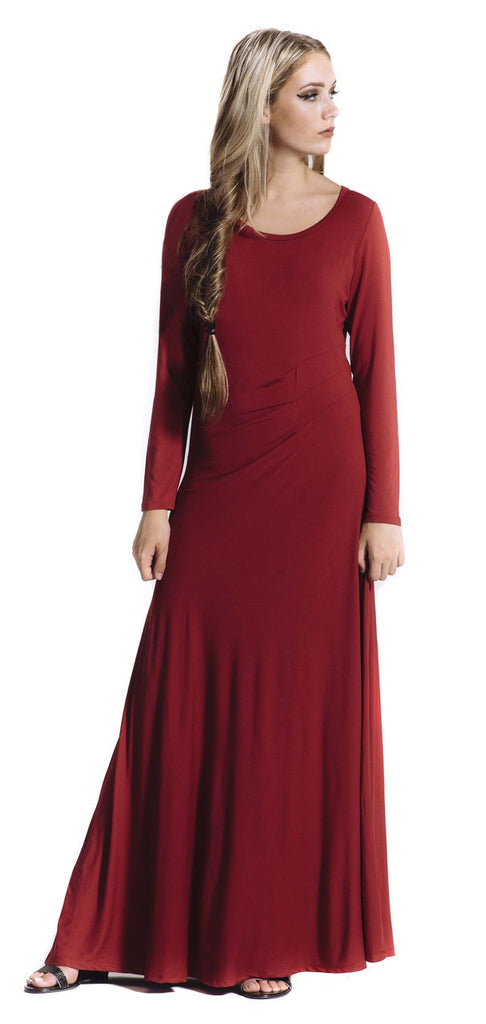 Sasha Maroon Maxi Dress