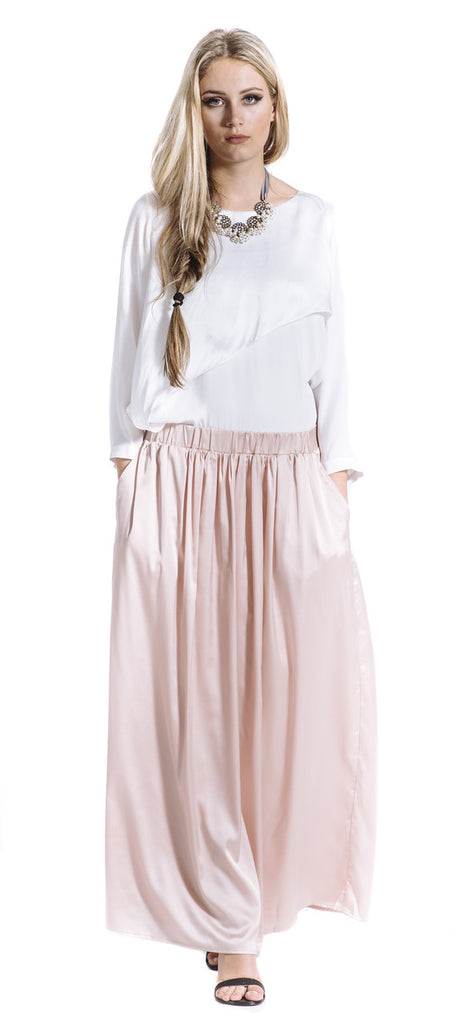 Peach Shell Maxi Skirt