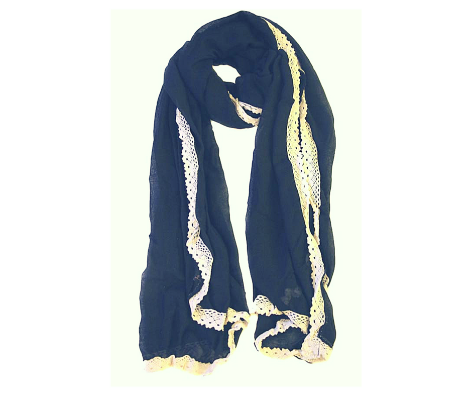 Ivory Brocade Hijab-Black