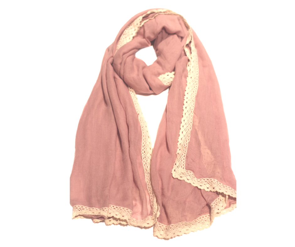 Ivory Brocade Hijab-Dusty Pink