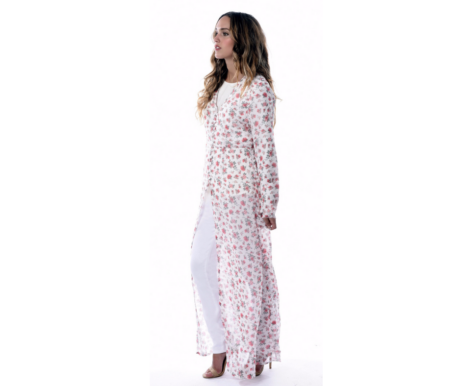 Azalea Floral Long Modest Shirt
