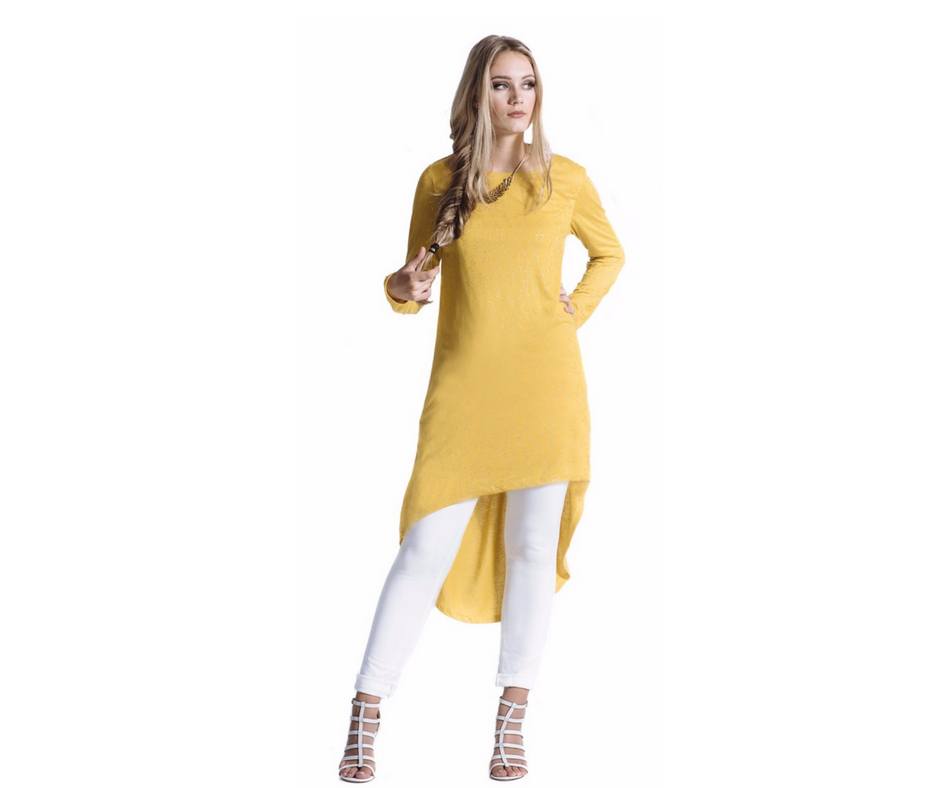 Gilded Mustard High - Low Shirt