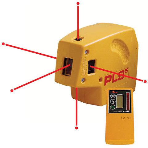 PLS PLS5-SYSTEM 5-Beam Plumb, Level, and Square Point-to-Point Laser With HVD Laser Detector