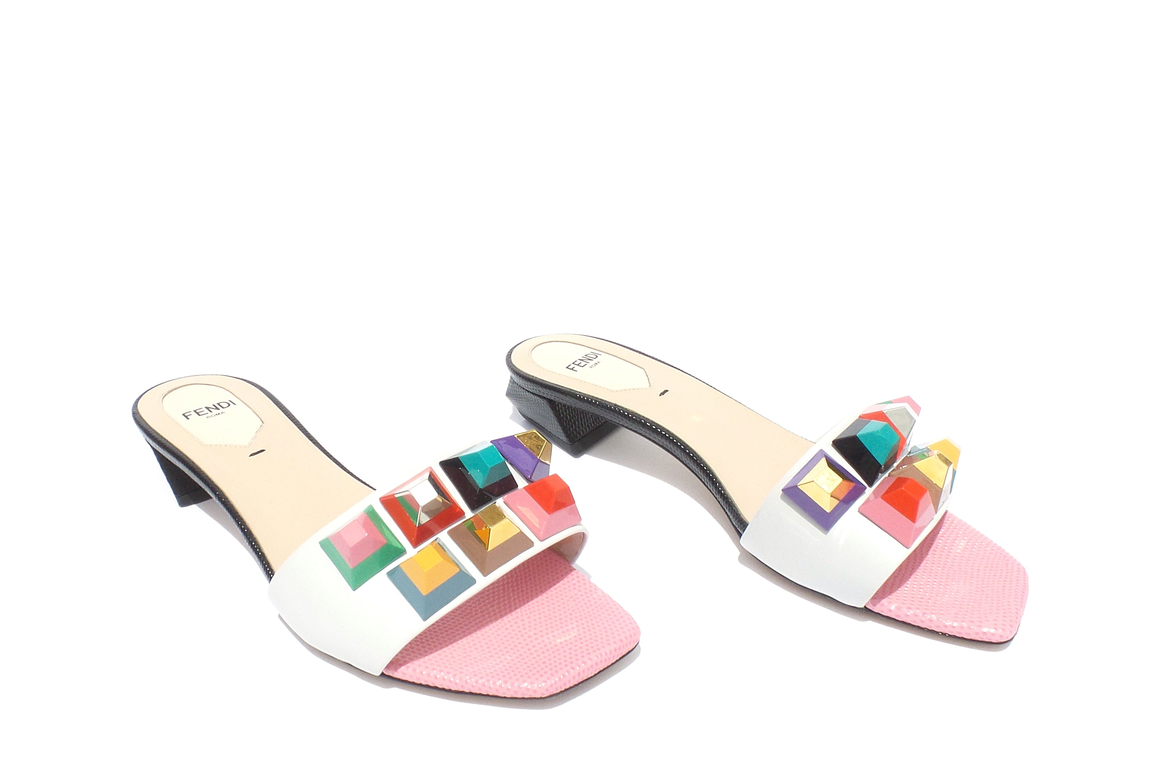 'Sold' FENDI SS16 White Leather Multi Lollipop Pyramid Studded Slide Sandals 36.5 $700